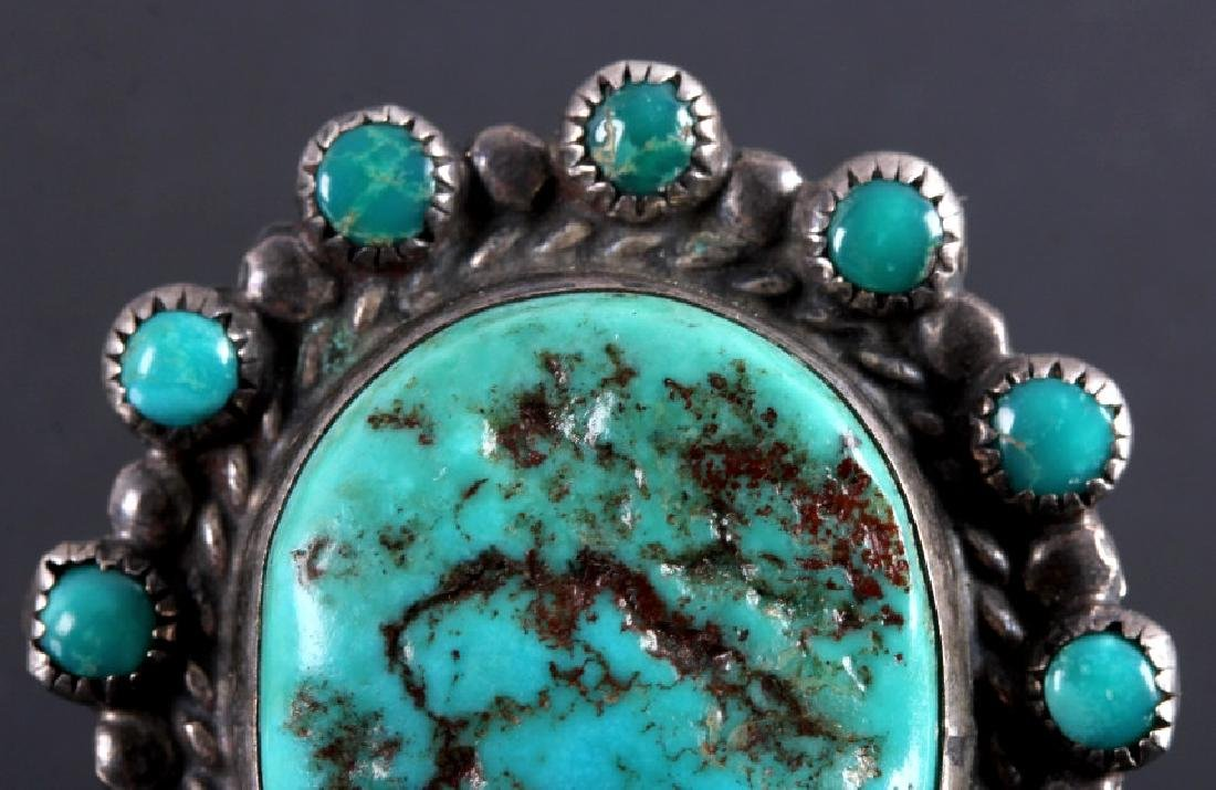 Navajo Sterling Silver Turquoise Nugget Ring - 4