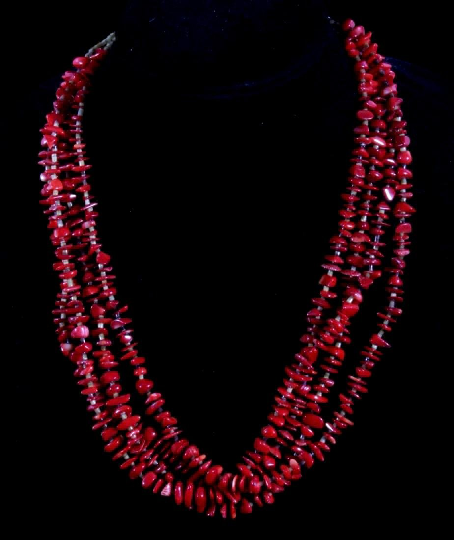 Multistrand Branch Coral and Heshe Bead Necklace