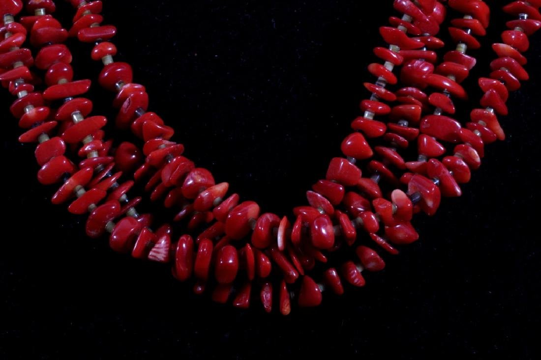 Multistrand Branch Coral and Heshe Bead Necklace - 2