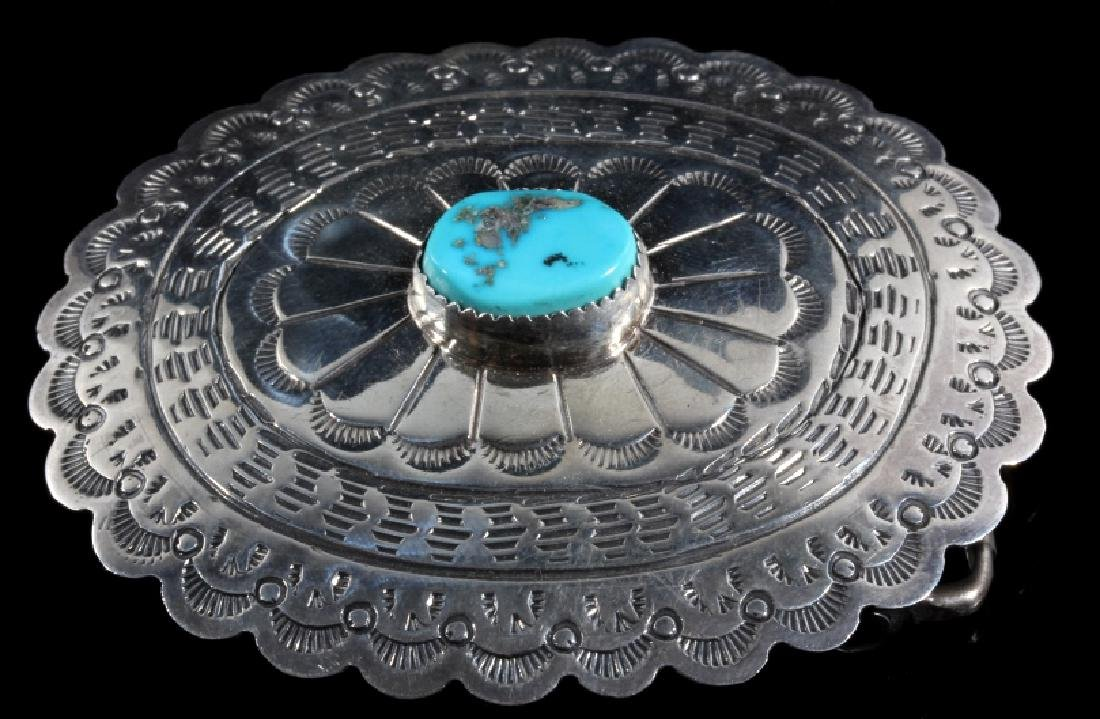 Navajo Turquoise and Sterling Silver Belt Buckle - 2