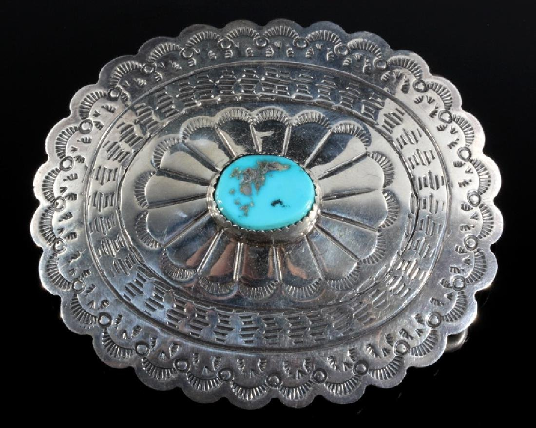 Navajo Turquoise and Sterling Silver Belt Buckle - 3
