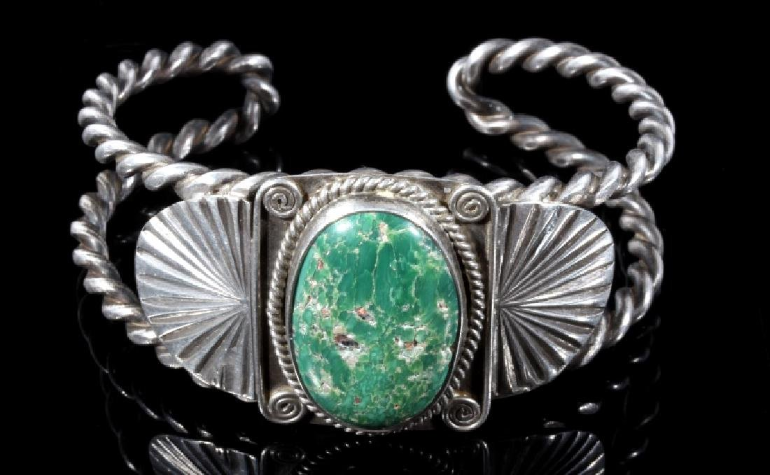 Navajo Turquoise and Sterling Silver Bracelet - 2