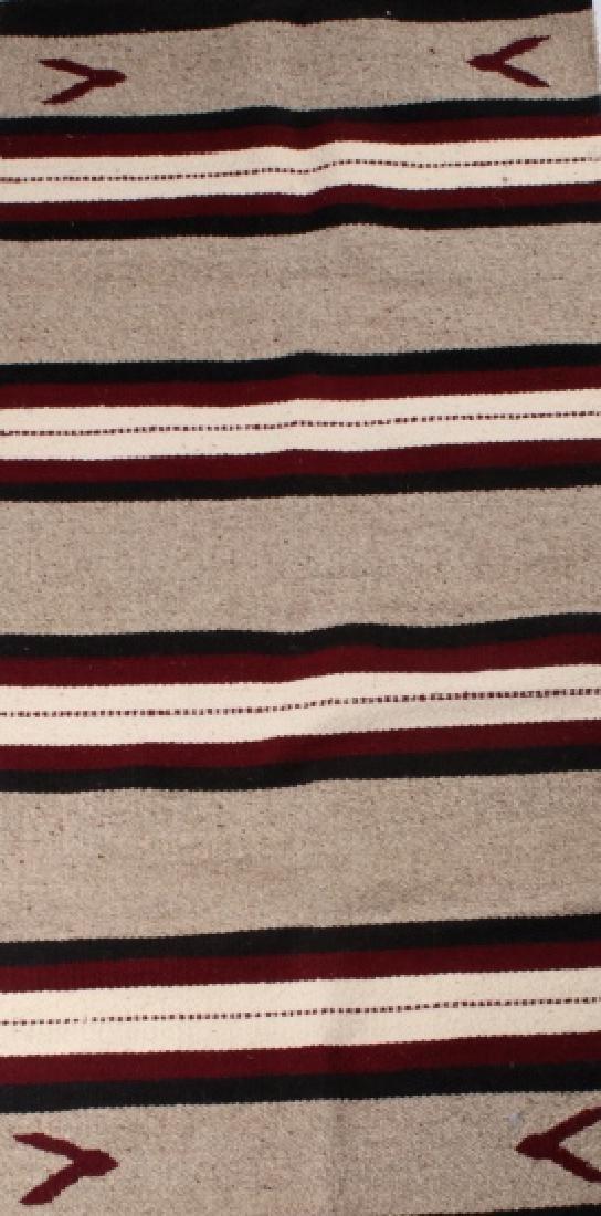 Navajo Native American Pattern Wool Runner Rug - 3