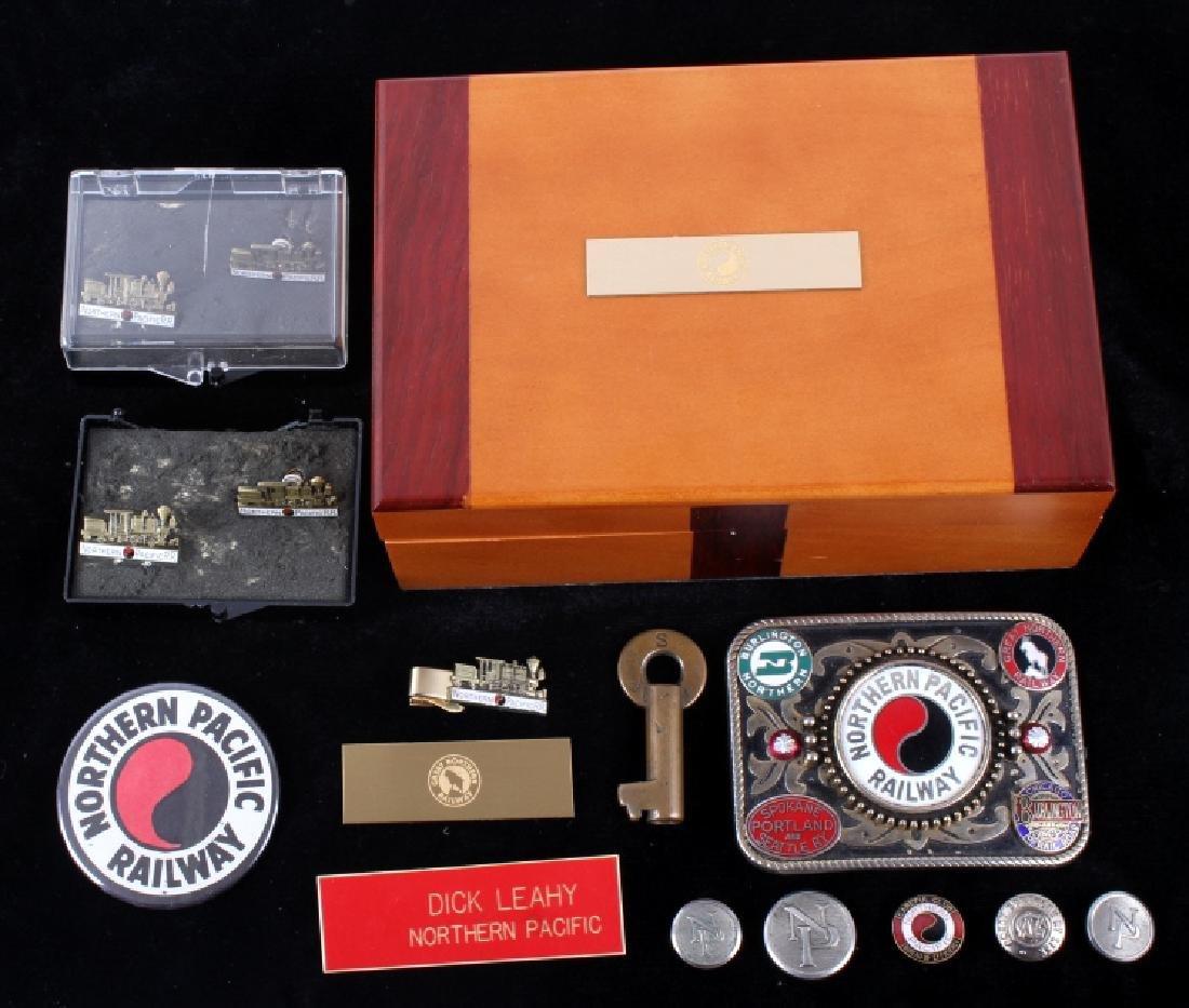 Northern Pacific Railway pocket watch & pins