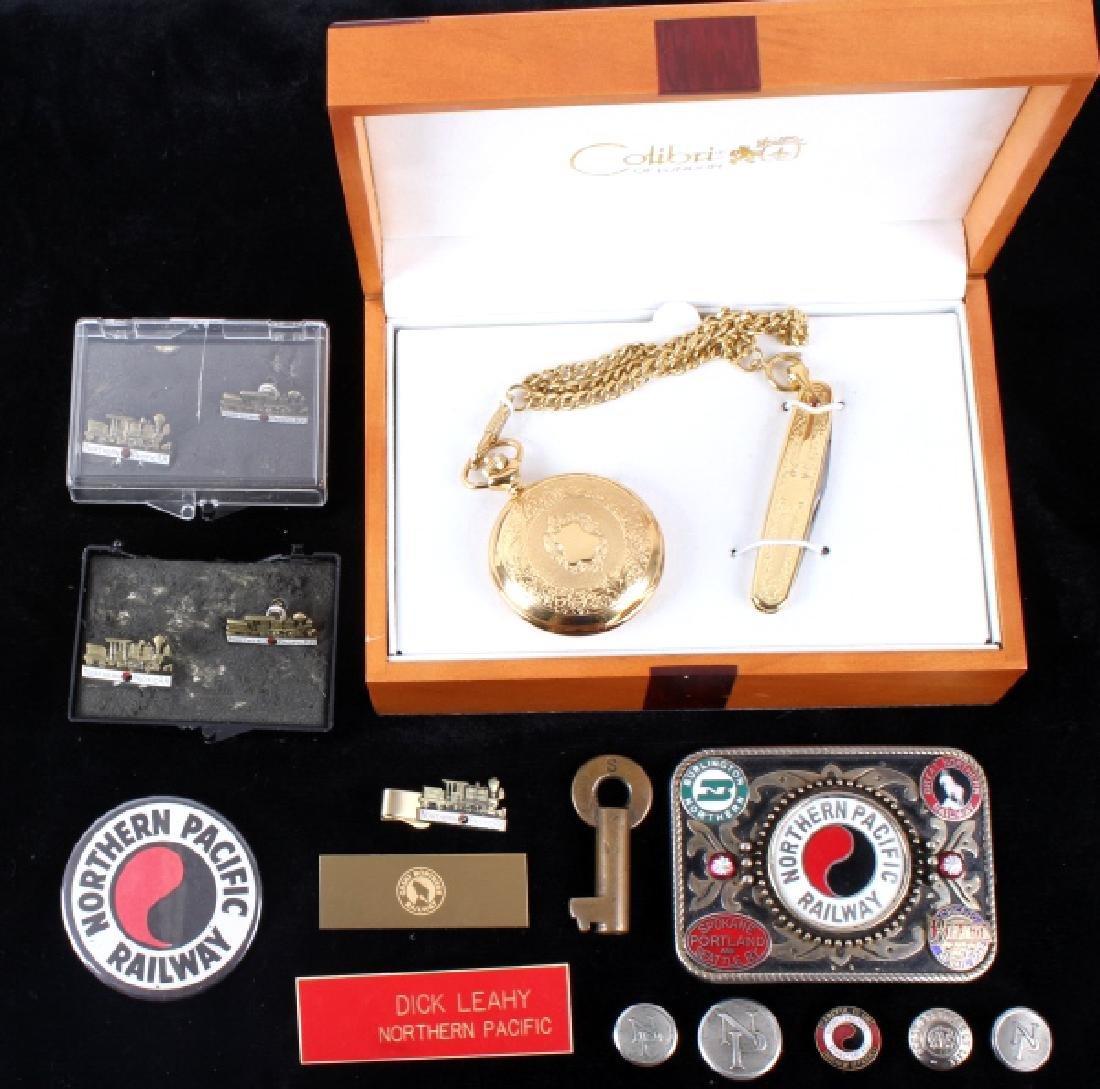 Northern Pacific Railway pocket watch & pins - 3