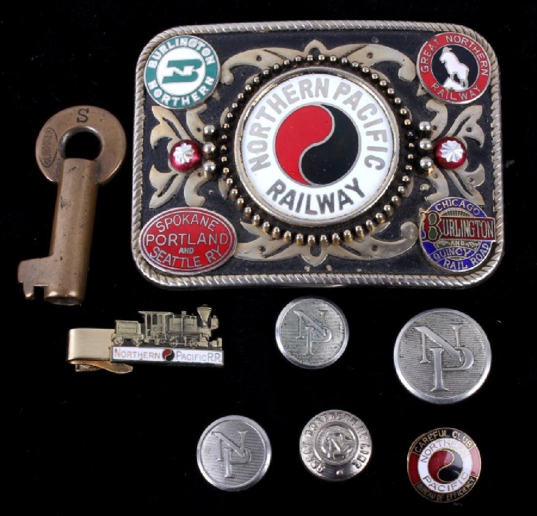 Northern Pacific Railway pocket watch & pins - 8