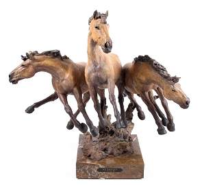 J.W. Muir Los Bandidos Equestrian Bronze Sculpture