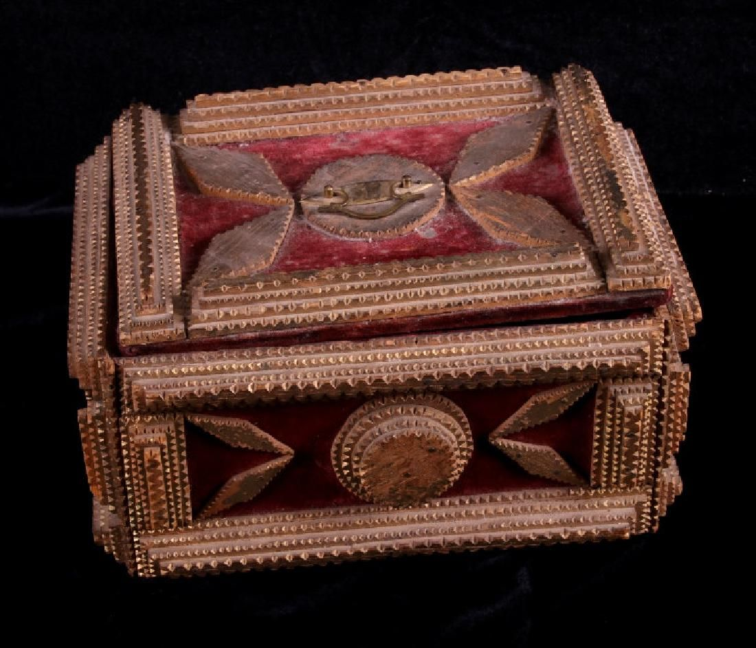 Early American Folk Wooden Tramp Art Velvet Box