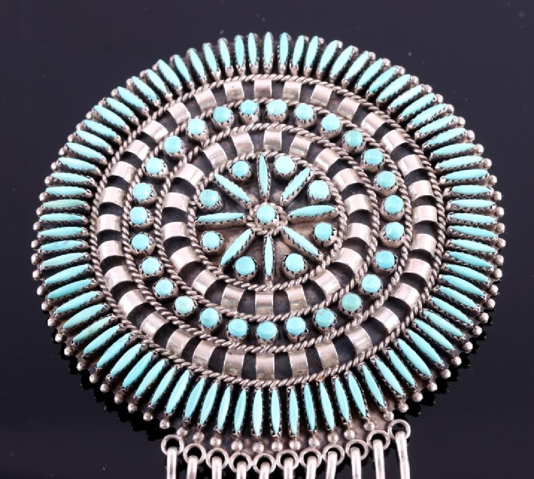 Navajo Sterling Petit Point Turquoise Brooch - 2