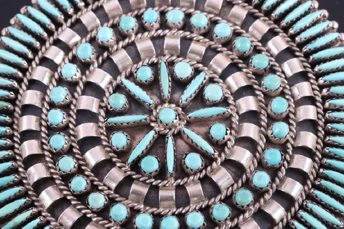 Navajo Sterling Petit Point Turquoise Brooch - 4