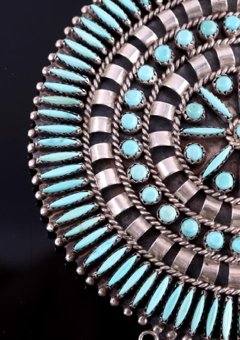 Navajo Sterling Petit Point Turquoise Brooch - 6