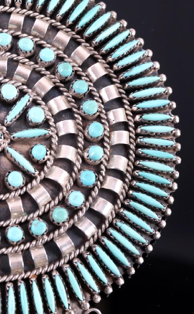 Navajo Sterling Petit Point Turquoise Brooch - 7