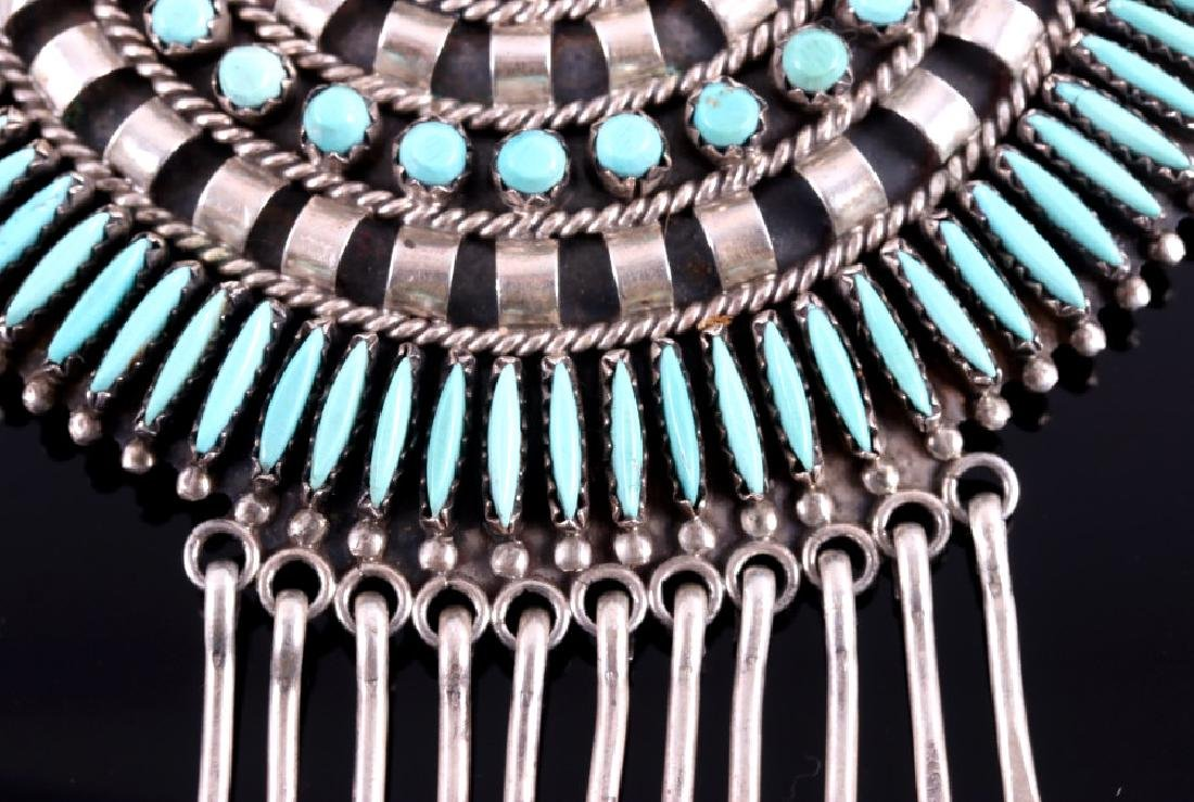 Navajo Sterling Petit Point Turquoise Brooch - 8