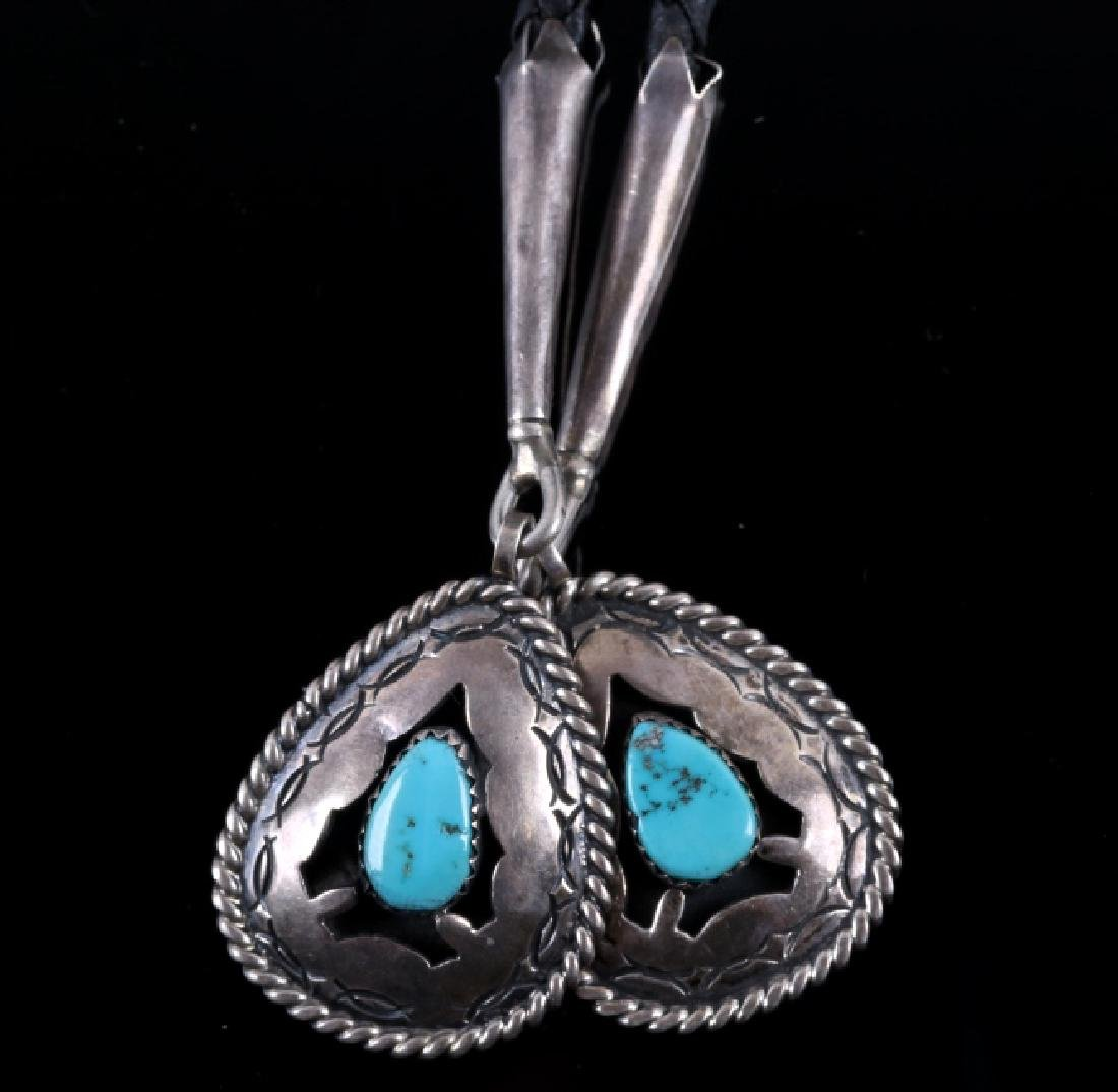 Navajo Signed Sterling Silver Turquoise Bolo Tie - 4