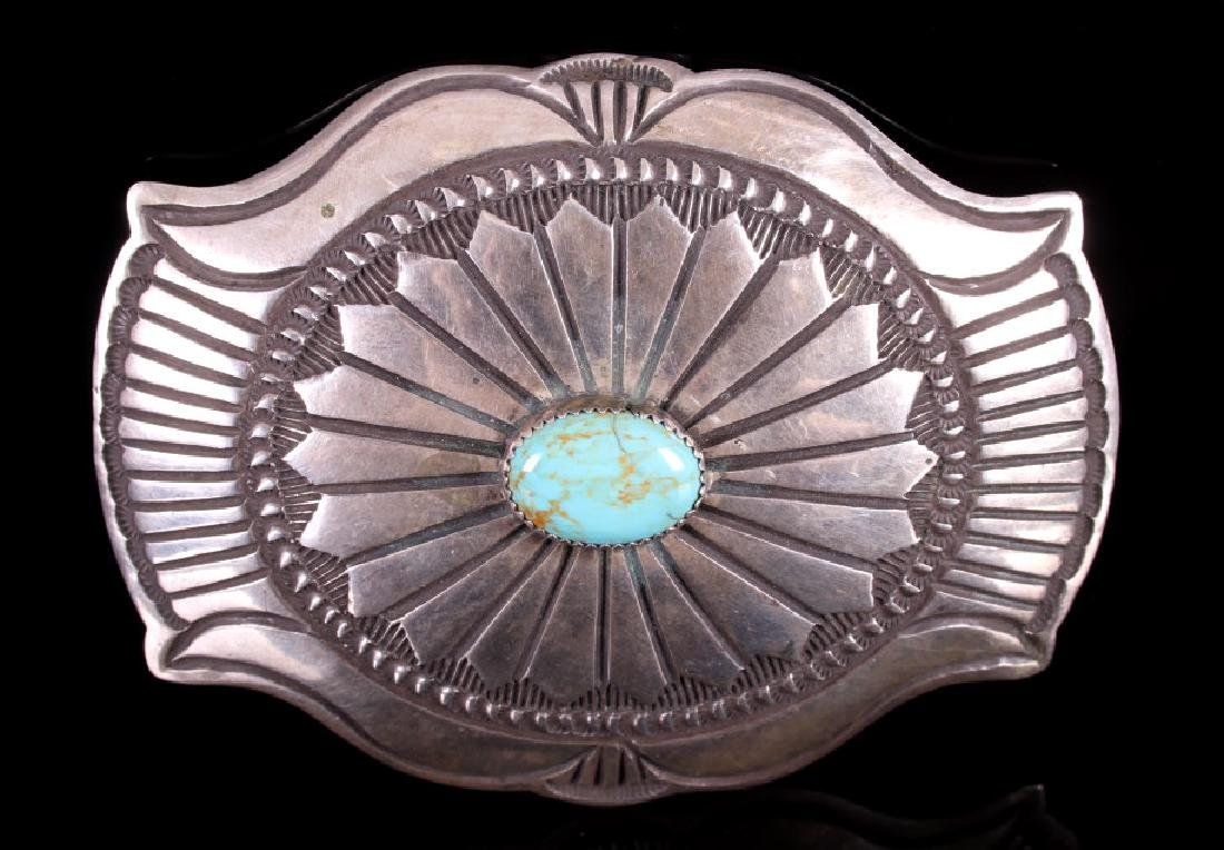 Signed Navajo Royston Turquoise Silver Belt Buckle - 2