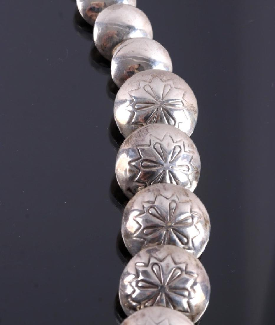 Signed Navajo Sterling Silver Necklace - 8
