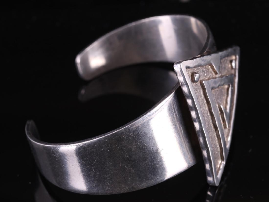 Navajo Signed Sterling Silver Bracelet - 2