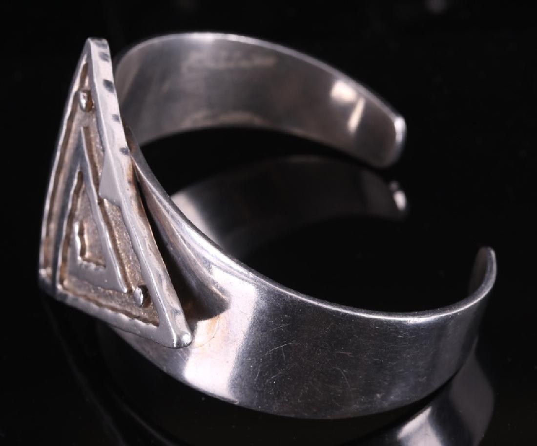Navajo Signed Sterling Silver Bracelet - 3