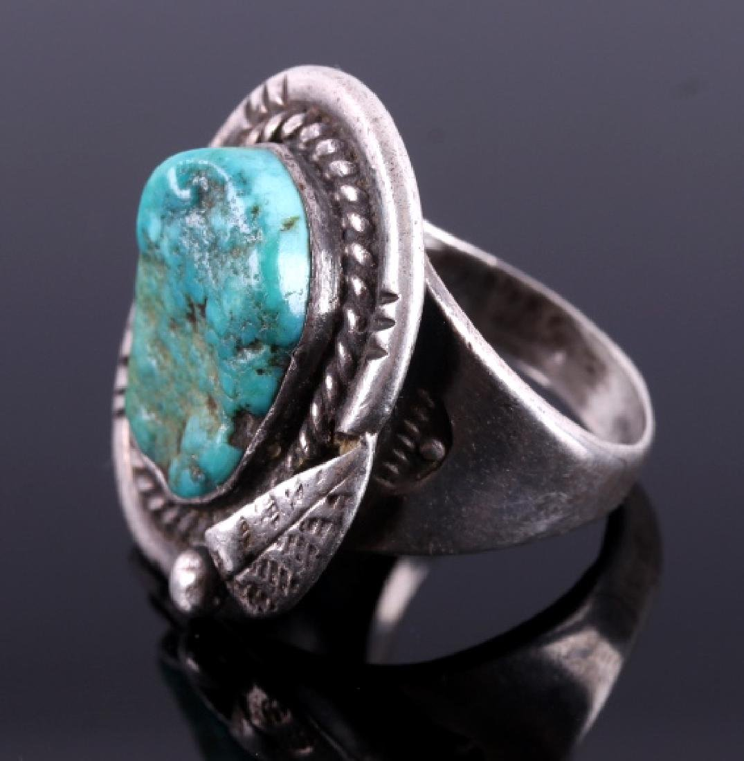 Navajo Sterling Silver Turquoise Nugget Ring - 2