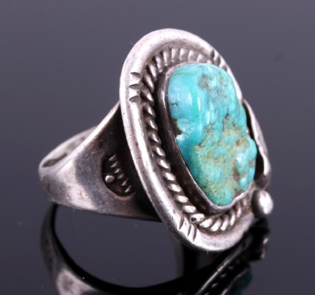 Navajo Sterling Silver Turquoise Nugget Ring - 3