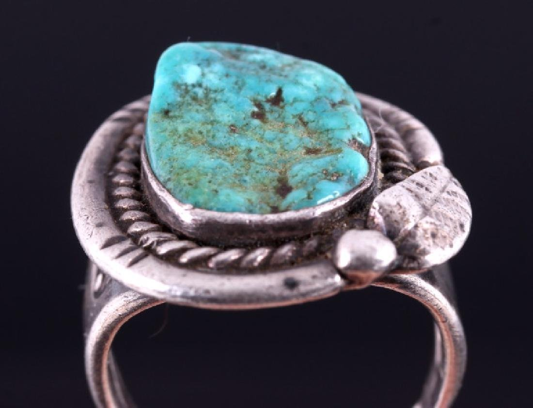 Navajo Sterling Silver Turquoise Nugget Ring - 6