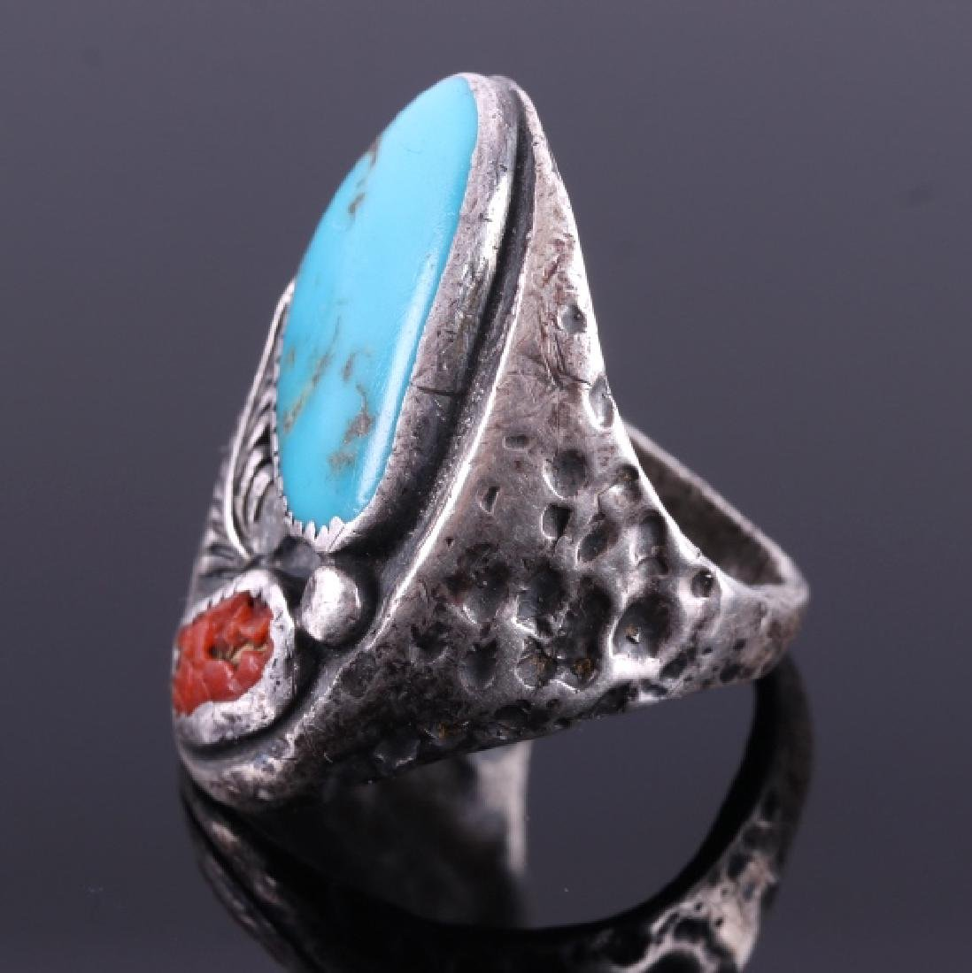 Navajo Sterling Silver Turquoise Coral Ring - 2