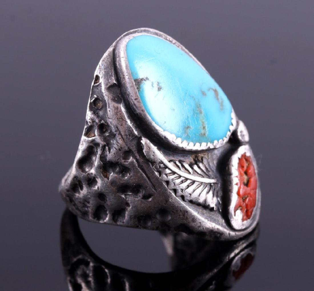 Navajo Sterling Silver Turquoise Coral Ring - 3