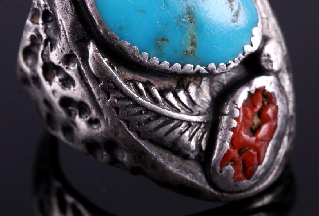 Navajo Sterling Silver Turquoise Coral Ring - 5