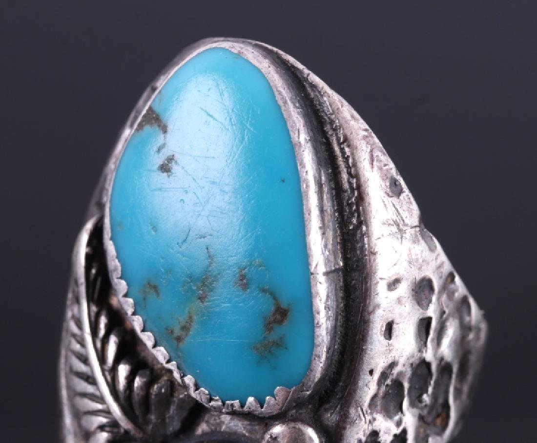 Navajo Sterling Silver Turquoise Coral Ring - 6