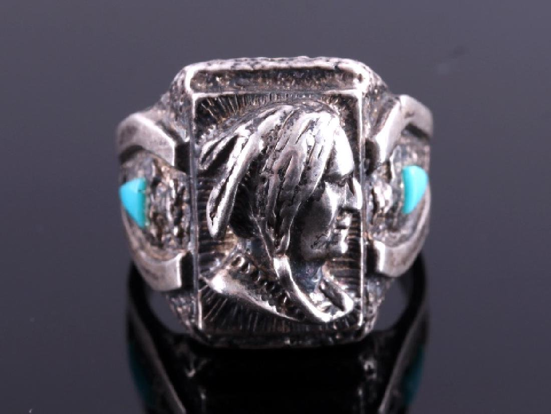 Navajo Sterling Silver Turquoise Indian Head Ring