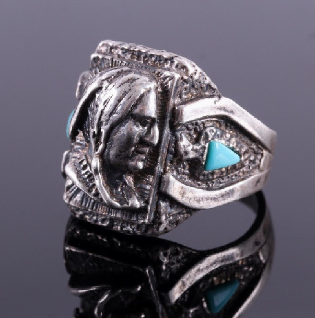 Navajo Sterling Silver Turquoise Indian Head Ring - 2