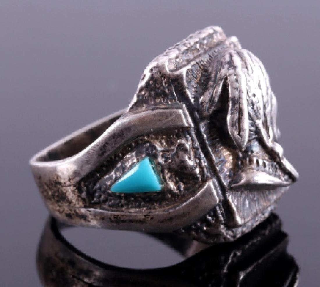 Navajo Sterling Silver Turquoise Indian Head Ring - 3