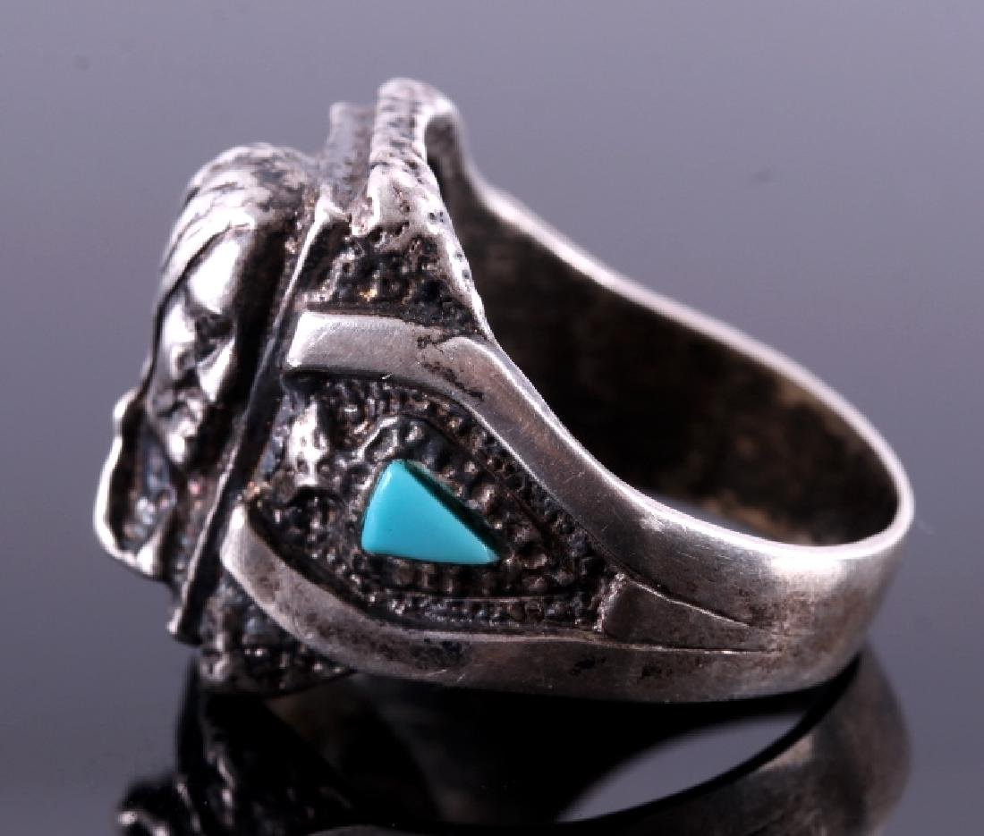 Navajo Sterling Silver Turquoise Indian Head Ring - 4