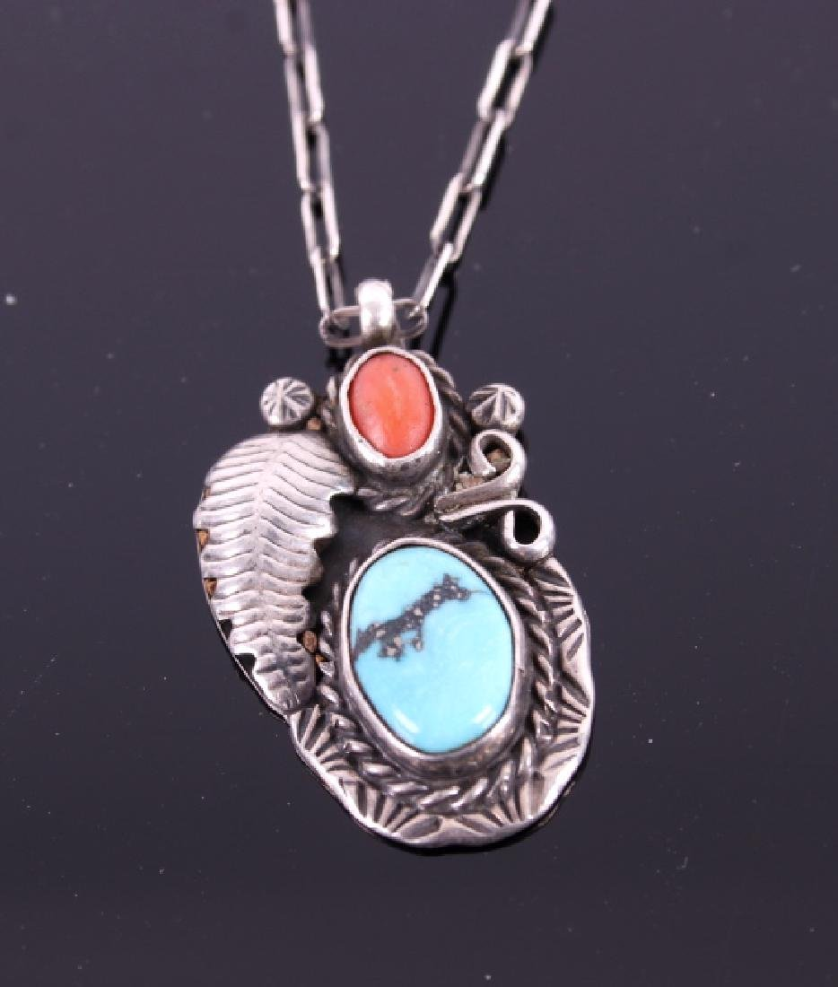 Navajo Sleeping Beauty Turquoise & Coral Necklace