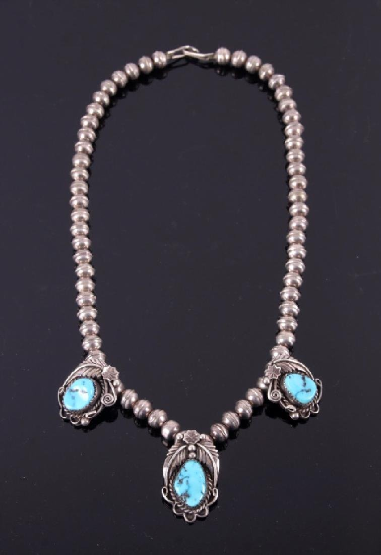 Signed Navajo Sterling & Turquoise Necklace