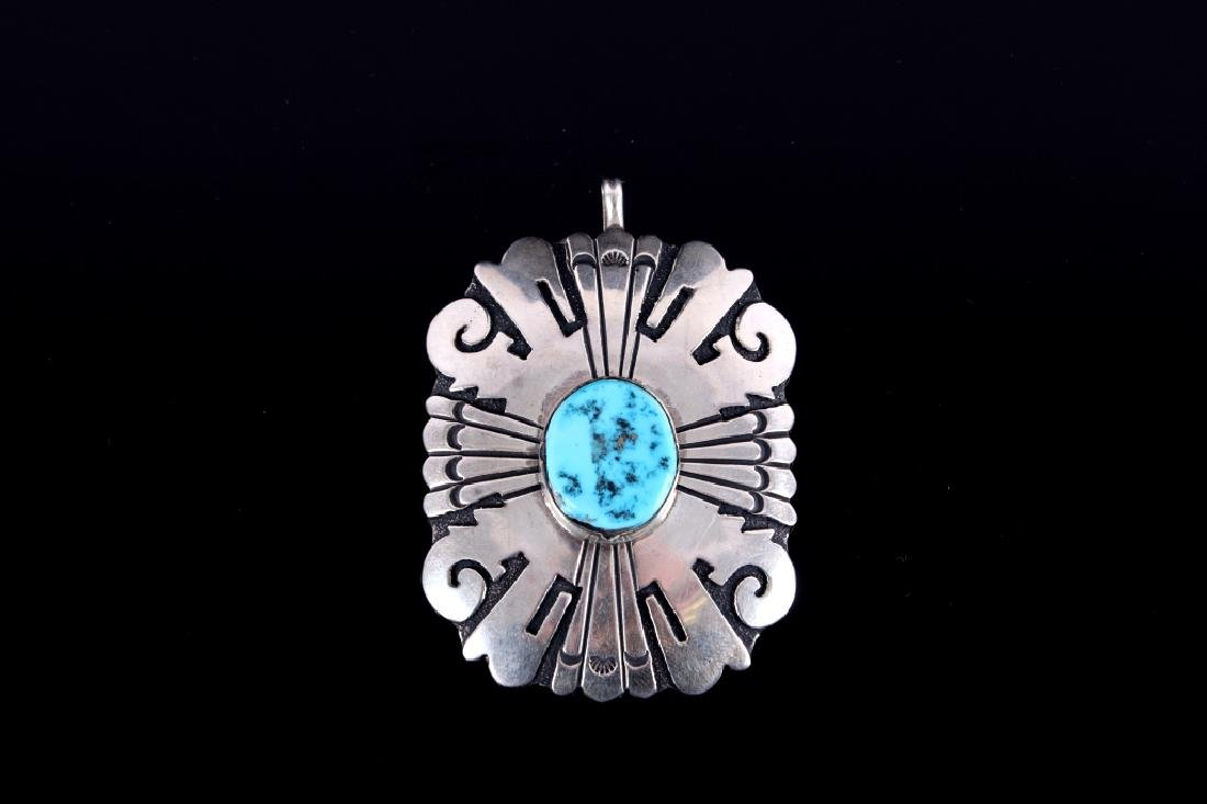 T. Singer Sterling Silver & Turquoise Pendant