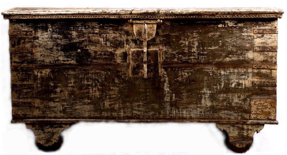 Large Gujarat Indian Rosewood Colonial Dowry Chest