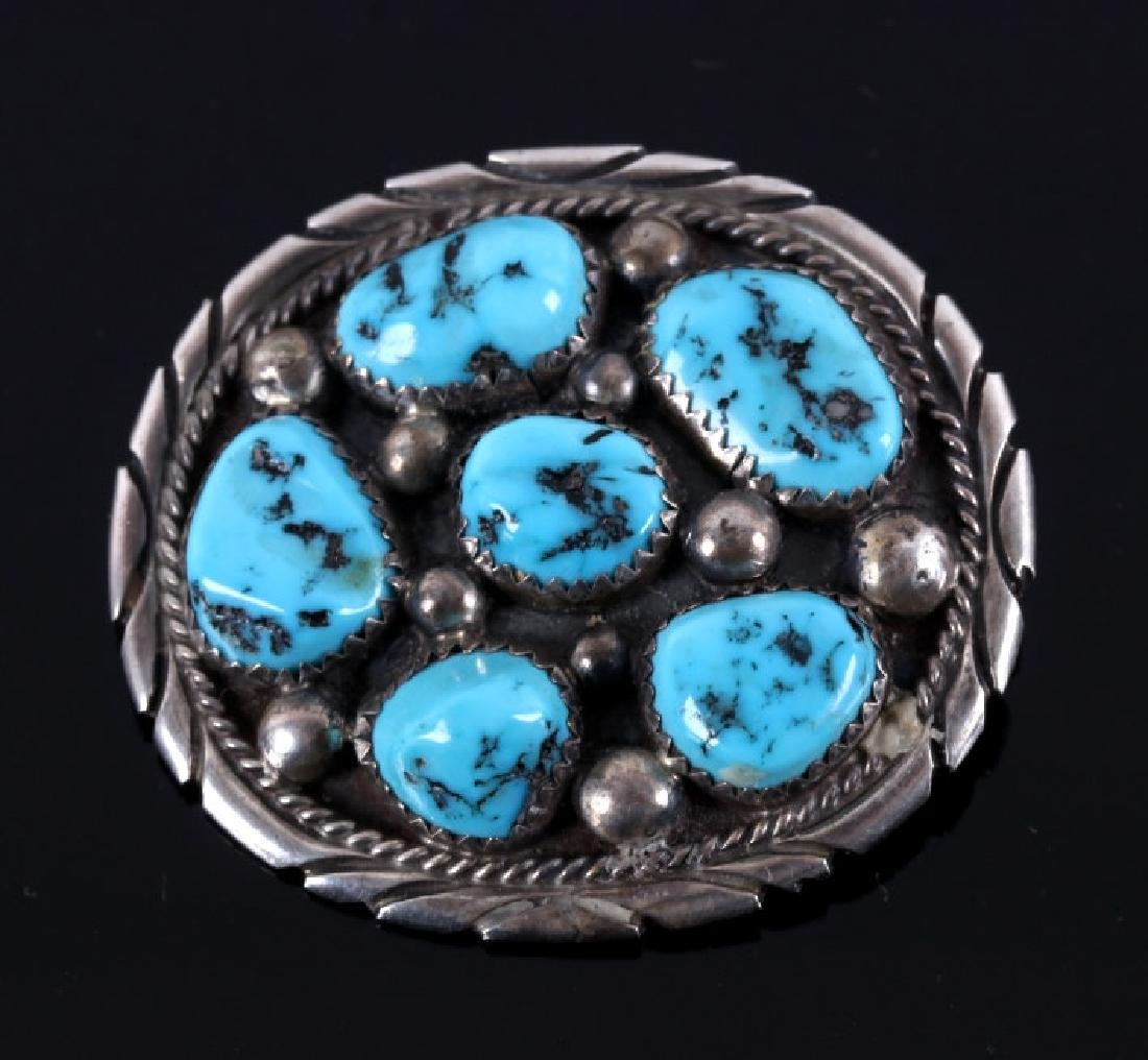 Navajo Tommy Moore Stering & Turquoise Pendant