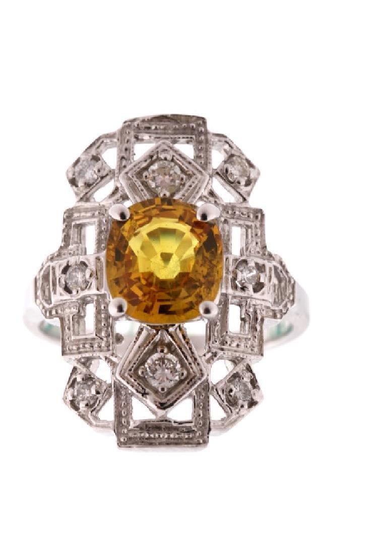 Vintage Estate Montana Sapphire & Diamond 14K Ring