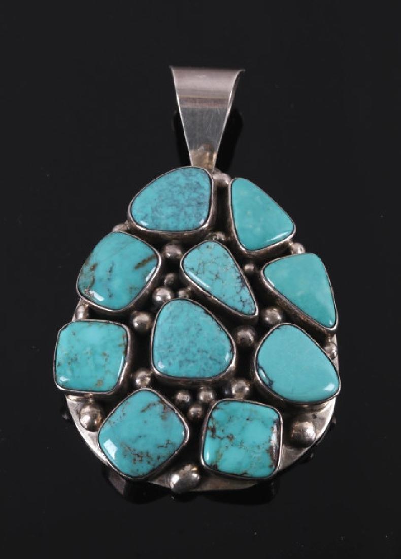 Signed Navajo Carico Lake Turquoise Silver Pendant