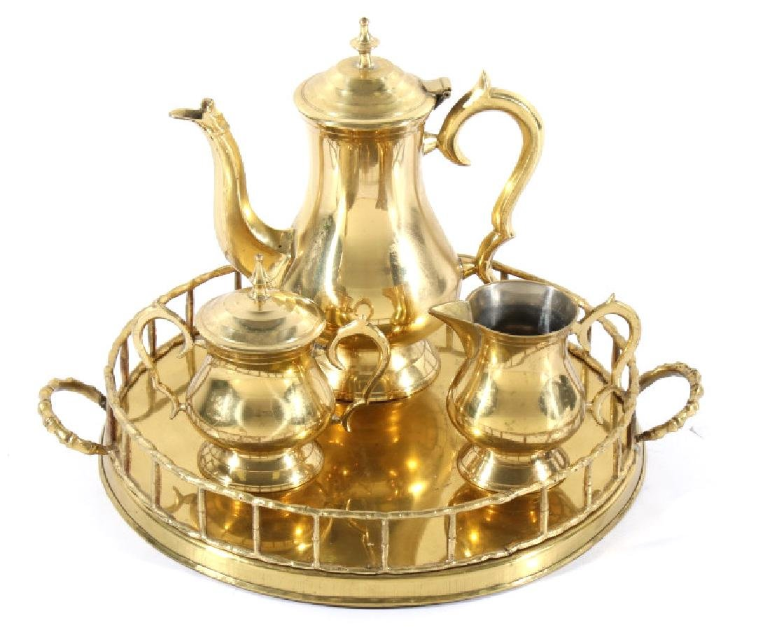 Early 20th Century Polished Brass Tea Set
