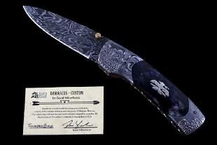 Navajo Dave Yellowhorse Damascus Thunderbird Knife