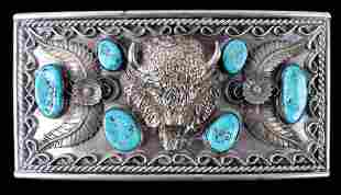 Navajo Large Sterling Buffalo & Turquoise Buckle