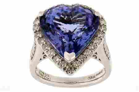 12.98 ct. Tanzanite & Diamond Platinum Ring