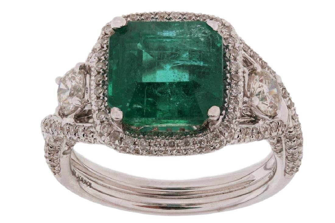 4.01ct Emerald & 1.19ct Diamond 18K Gold Ring