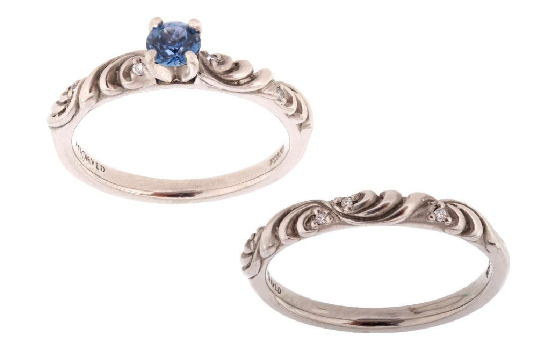 Montana Yogo Sapphire ArtCarved Palladium Ring Set