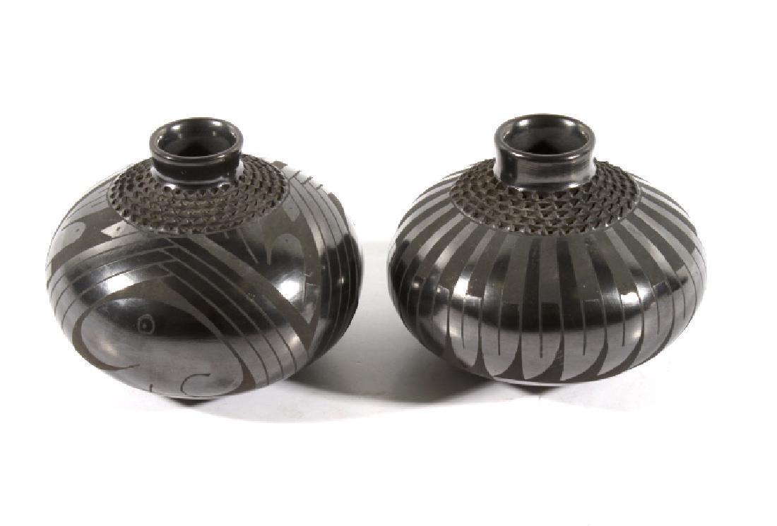 Signed Santa Clara Black Polychrome Pottery Jars