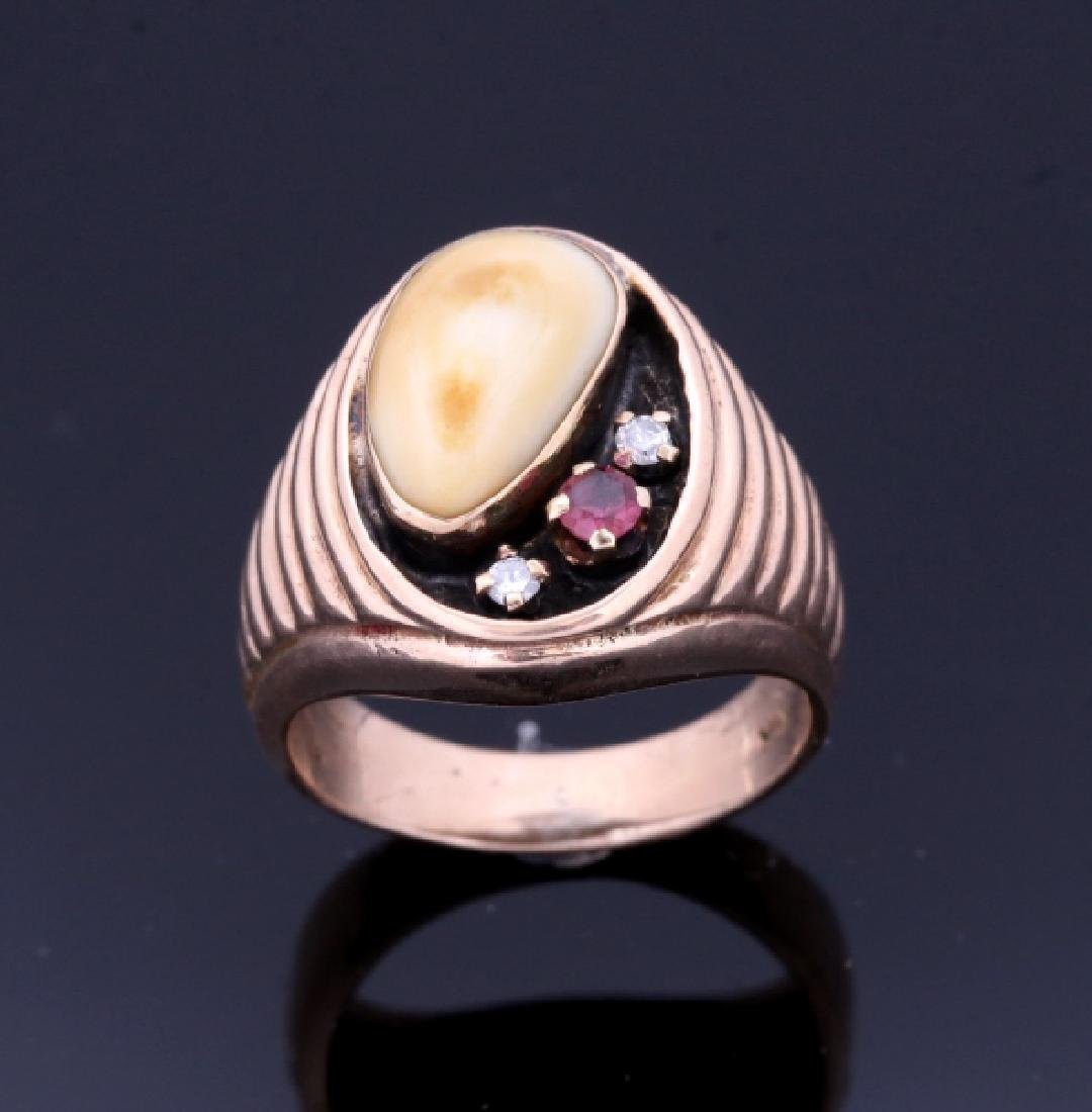 Montana Elk Ivory Garnet & Diamond 14K Gold Ring