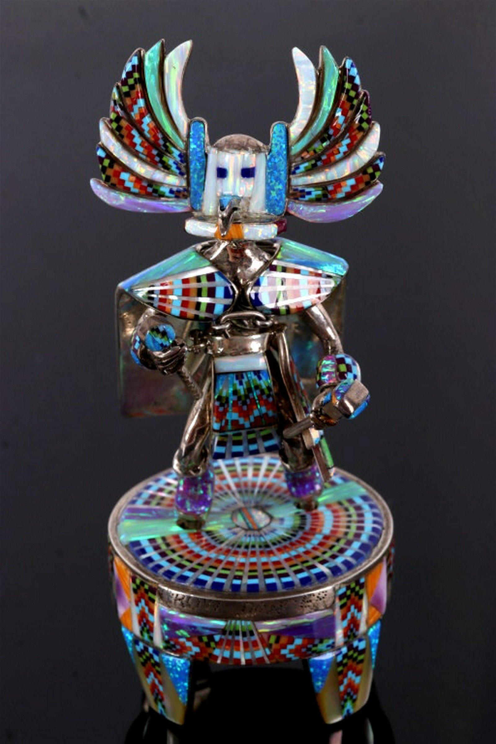 Hopi Sterling Crow Dancer Micro Inlay Kachina