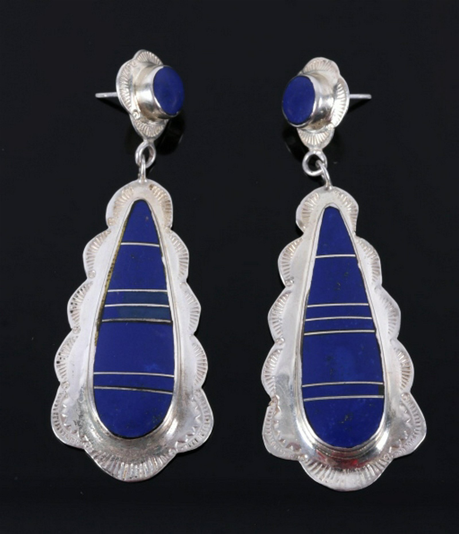 Navajo Lapis Lazuli & Sterling Silver Earrings